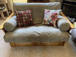 Oak wood frame futon, full bed size—$375 for Sale in Tracy, CA
