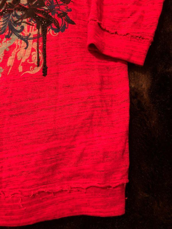Crash & Burn red sweatshirt, beaded back