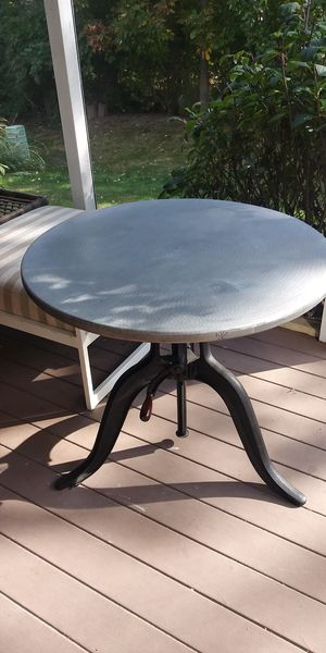 Arhaus recycled metal dining table bar table for Sale in Grove City, OH