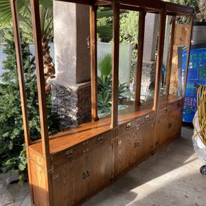 Set of 3 1960s Oak Glass Wall Display Cabinets for Sale in San Diego, CA
