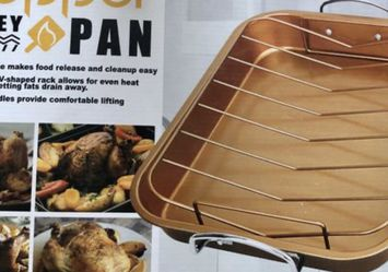 Copper Turkey Pan 15x12 As Seen on TV Never used Still in box Brand new Holidays are almost here for Sale in Las Vegas,  NV