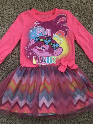 2T Toddler Girls Princess Poppy TROLLS long sleeved dress with bow and tulle for Sale in Ontario, CA
