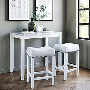 Dining Set Kitchen Pub Table Marble Top Fabric Seat Wood Base, Light Gray/White for Sale in Los Angeles, CA