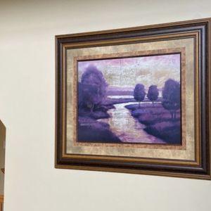Framed River Landscape Picture for Sale in Bartlett, IL