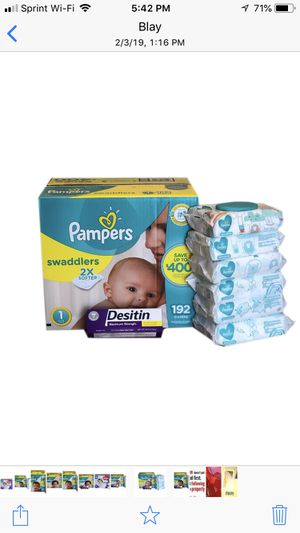 Pampers Swaddlers Size 1 with Desitin and Wipes for Sale in Miami Gardens, FL