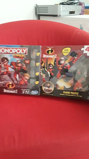 Monopoly junior and 3 ft floor puzzle incredibles 2 for Sale in Woodland, CA