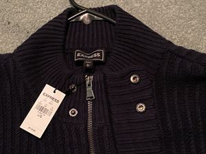 (NEW) EXPRESS Navy Full Zipper/Button Knit Cardigan for Sale in Livonia, MI