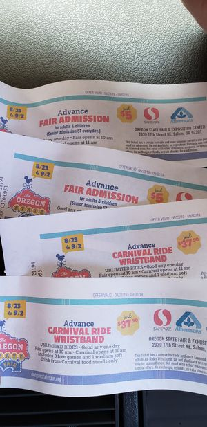 2 Carnival tickets & 2 wristbands for Sale in Keizer, OR