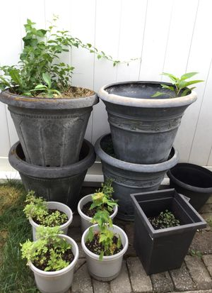 8 Large & small flower pots style round resin for Sale in Hicksville, NY