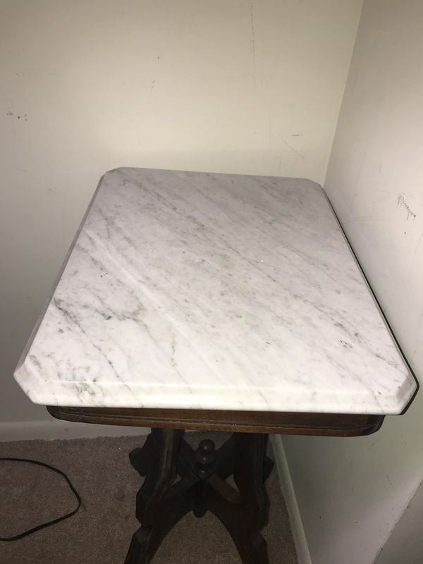 Antique side tall table with marble top