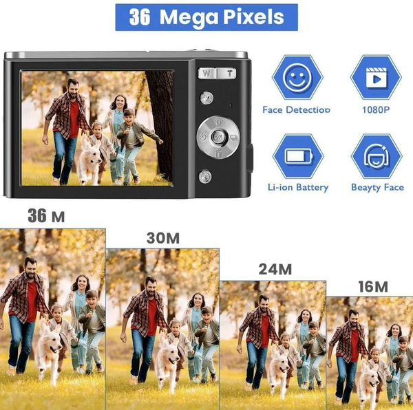 HD Digital Camera, 1080P Vlogging LCD Mini Camera with 16X Zoom 36MP Digital Point and Shoot Camera Video Camera