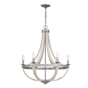 Progress Lighting Keowee 6-Light Galvanized Chandelier with Antique White Wood Accents for Sale in Houston, TX