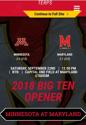 2 tickets plus parking pass to university of Maryland vs. minnesota for Sale in Rockville, MD