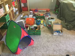 HUGE TOY LOT, NURF GUNS, BULLETS, PLAY-MOBIL PIRATE SET, puzzles, arts & crafts, magic, full on kitchen set, tracks, clay, games, miscellaneous for Sale in Mount Juliet, TN