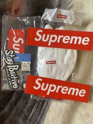 Supreme rubberized gloves + verified sticker pack + 2 bogos for Sale in Montclair, CA