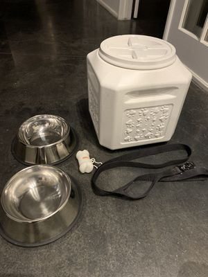 Large dog food storage container, food/water bowl, and leash for Sale in Atlanta, GA