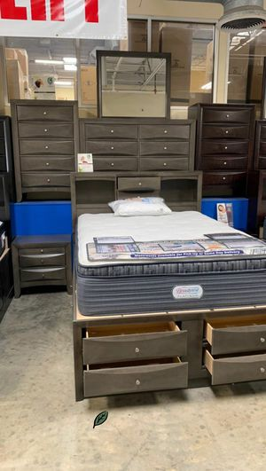 ☑ Special for Black Friday ‼ SPECIAL] Emily Gray Storage Platform Bedroom Set 4-Piece Queen (QB/D/M/N) 23 for Sale in Jessup, MD