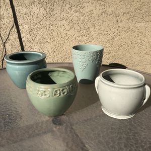 Lot Of Four Green Ceramic Flower Pots / Vases for Sale in San Mateo, CA