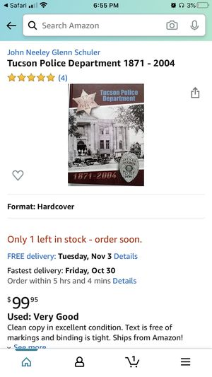 """Tucson Police Department 1871 - 2004"" Book for Sale in Phoenix, AZ"