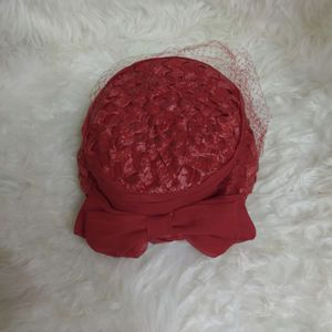 Red Topper Shop Hat with Small Veil for Sale in Seattle, WA