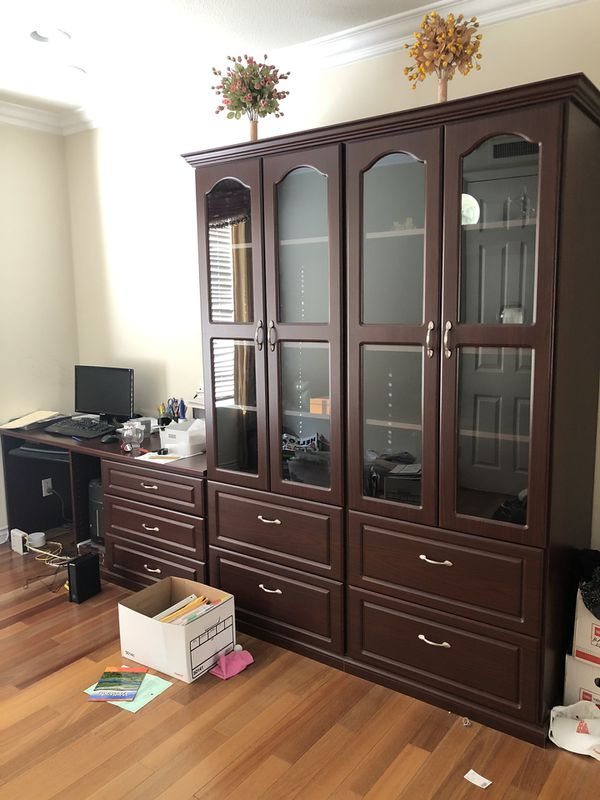 Desk and Cabinet built-in look! Free! Must pick up today!