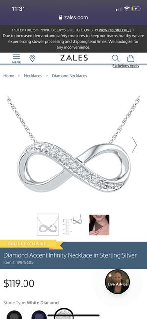 KAY JEWELERS diamond infinity necklace for Sale in Poinciana, FL