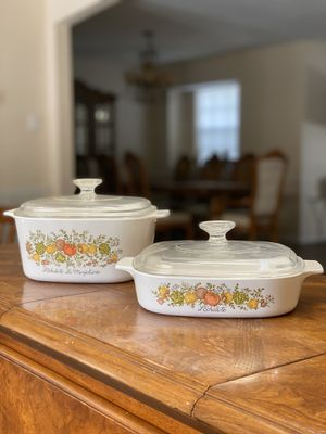 "4 Piece ""Spice Of Life"" 1970s Vintage Corning Ware dish set for Sale in Cypress, TX"