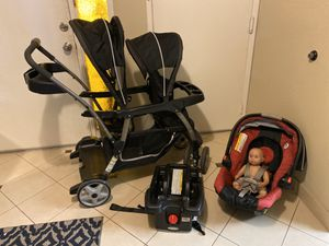 Graco Double Stroller + Car seat + Base for Sale in San Jose, CA