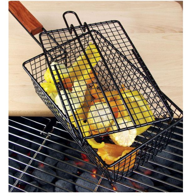 Charcoal Companion grilling basket with wood handle