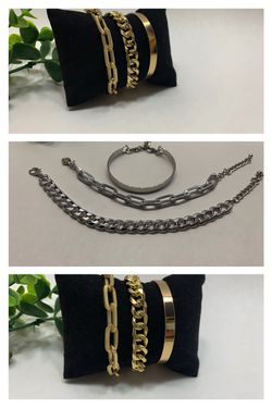 Punk Style 3pcs/Set Curb Cuban Multilayer Link chain bracelet, Gold and Silver Color (2 Sets) for Sale in Los Angeles,  CA
