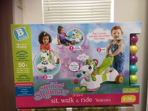 Cute unicorn baby walker 3 in 1 toy for Sale in Columbus, OH