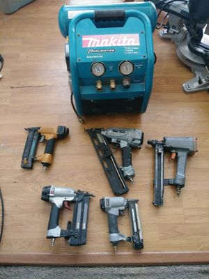 Makita air compressor with 5 nail guns for Sale in Houston, TX
