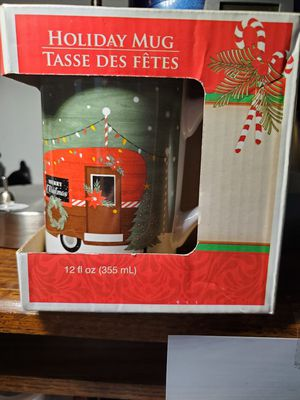 Brand new Christmas mug in the box the little trailer and the gold serving dish for Sale in Land O Lakes, FL