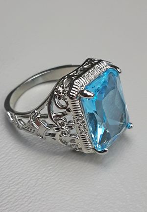 Princess Cut Aquamarine 925 Silver Ring Size 8 Stamped for Sale in Union, WA