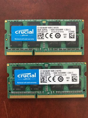 Crucial 8GB Single DDR3/DDR3L 1600 MT/S (PC3-12800) Unbuffered SODIMM 204-Pin Memory - CT102464BF160B for Sale in Lake Park, FL