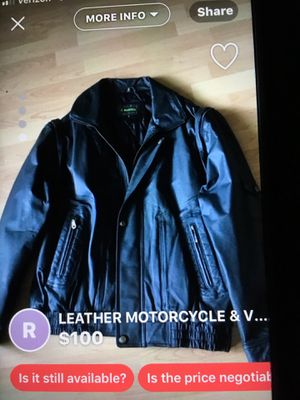 LEATHER MOTORCYCLE & VEST JACKET TWO IN ONE BLACK (BRAND NEW) SIZE LARGE for Sale in Howell, NJ
