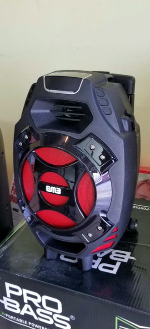"""1000 watts. 8"""" woofer speaker. Rechargeable battery. Bluetooth. FM radio. USB and SD connection. Microphone imput. Brand new. for Sale in Miami, FL"""