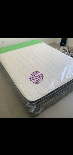 FULL MATTRESS BED PILLOW TOP BRAND NEW WITH BOX SPRING SET 🎖️🎖️ALL SIZES AVAILABLE KING QUEEN FULL TWIN 🎖️COLCHONES CAMAS NUEVOS for Sale in HALNDLE BCH,  FL