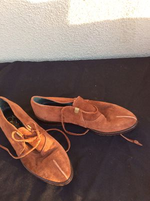 Beautiful shoes made in Italy! Soft leather in the pale blue with fringe. Leather brown shoes for Sale in Grand Terrace, CA