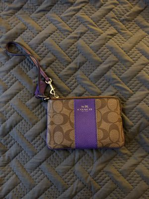 Purple/Beige Coach Wristlet for Sale in Fairfax, VA