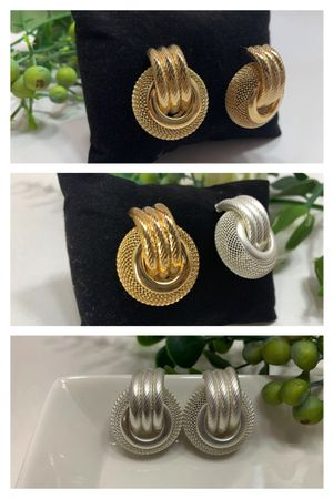 Multi Layer Metal Round Hoop Earrings, Gold and White/Silver for Sale in Irvine, CA