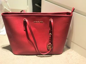 Michael Kors - Red large tote like new and good used MK golden wallet for Sale in Reston, VA