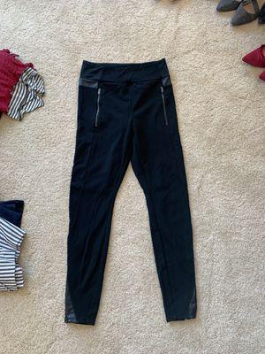 Black Athleta Leggings with Leather Stripe for Sale in Atlanta, GA