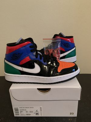 Air Jordan 1 Mid Multi-Color Black Patent Leather Womens Size 7.5 / Mens Size 6 (Pick Up) for Sale in Sunrise, FL