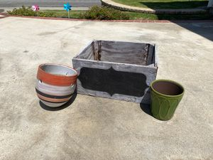 2 flower pots and one flower box for Sale in Huntington Beach, CA