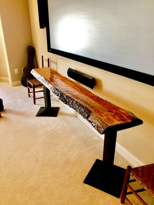 Decorative live edge Cherry console table. Two Restaurant Pro legs w/ clear, smooth epoxy gloss finish for Sale in Asheville, NC