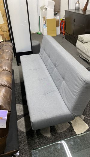 Sleeper Sofa Futon Grey Fabric Black Legs for Sale in Alexandria, VA