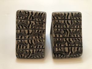 Vintage Hand-carved Zebra bookends from Besmo Kenya for Sale in Austin, TX