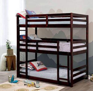 DARK WALNUT FINISH TRIPLE DECKER TWIN SIZE BUNK BED for Sale in Broken Arrow, OK