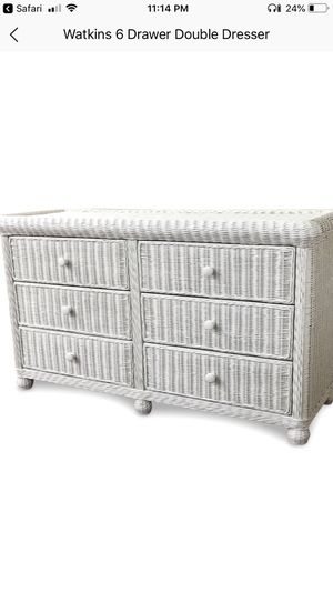 Girls white wicker dresser, two end tables and two large mirrors. for Sale in South Plainfield, NJ